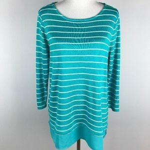 Talbots Knit Top Striped Shirttail